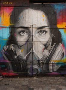 Graffiti und Atemschutzmaske